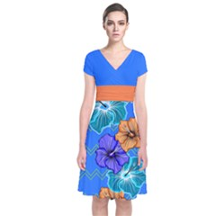 Blue Hawaii Short Sleeve Front Wrap Dress
