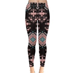 Black & Pink Tribal Aztec Chevron Stripes Leggings by CoolDesigns