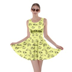 Yellow Kitten Lovely Cats Pattern Skater Dress
