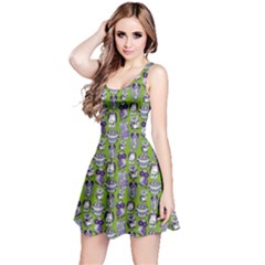 Neon Green Owl Pattern Sleeveless Skater Dress  by CoolDesigns