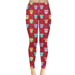Red Tone Colorful Owls Pattern Leggings