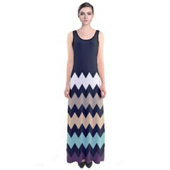 Beige Chevron Sleeveless Maxi Dress by CoolDesigns