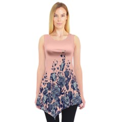 Coral Floral Sleeveless Tunic Top by CoolDesigns