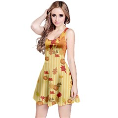 Leaves With Pumpkins Reversible Sleeveless Dress