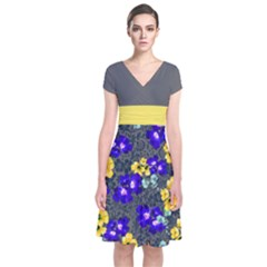 Yellow Floral Gray Short Sleeve Front Wrap Dress by CoolDesigns