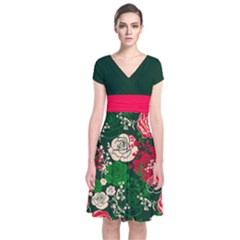 Red Rose Green Short Sleeve Front Wrap Dress by CoolDesigns