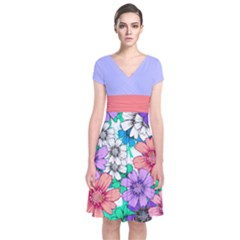 Violet Floral Short Sleeve Front Wrap Dress