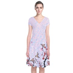Bird Blossom Japanese Style Cherry Blossom Short Sleeve Front Wrap Dress