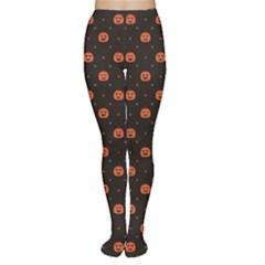 Black Black D Polka Dots Pattern With Halloween Pumpkin Women s Tights