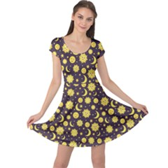 Green Sun Moon And Stars Celestial Pattern Cap Sleeve Dress by CoolDesigns