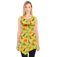 Yellow Cartoon Dinosaur Pattern Sleeveless Tunic Top by CoolDesigns