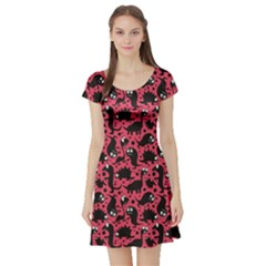 Pink Pattern Funny Dinosaurs Short Sleeve Skater Dress by CoolDesigns