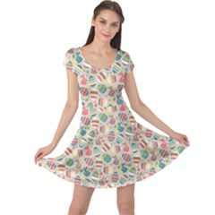 Green Easter Eggs Rabbits Holidays Patterm Cap Sleeve Dress