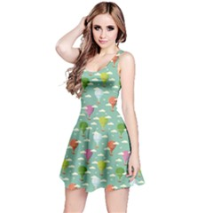 Green Retro Travel Pattern Of Balloons Sleeveless Dress