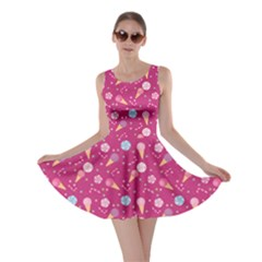 Red Pattern Of Sweets Ice Cream Candy Skater Dress by CoolDesigns