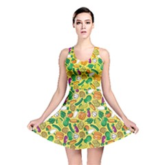 Green Vegetable Pattern Stylish Design Reversible Skater Dress