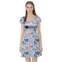 Blue Pattern With Cute Whales Sailing Octopus Short Sleeve Skater Dress by CoolDesigns