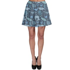 Blue Cute Doodle Blue Whales Marine Seamless Skater Dress by CoolDesigns