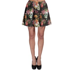 Colorful Beautiful Pattern With Nice Watercolor Skull And Flowers Skater Dress