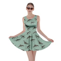 Turquoise Pattern Sharks Skater Dress