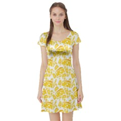 Yellow Cheese Pattern Short Sleeve Skater Dress by CoolDesigns