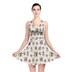 Gray Pattern With Watercolor Beetles Reversible Skater Dress