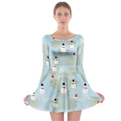Light Blue Snowman Long Sleeve Skater Dress by CoolDesigns