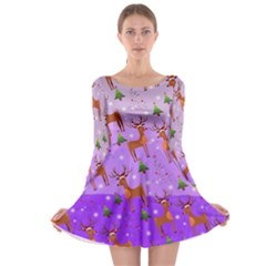 Violet Deer Long Sleeve Skater Dress by CoolDesigns