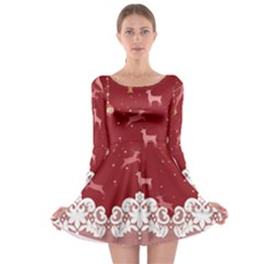 Xmas Red Lace Long Sleeve Skater Dress by CoolDesigns