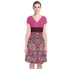 Pink Aztec Short Sleeve Front Wrap Dress