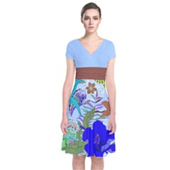 Light Blue Floral Short Sleeve Front Wrap Dress by CoolDesigns