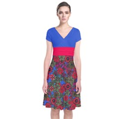 Red & Blue Floral Short Sleeve Front Wrap Dress by CoolDesigns