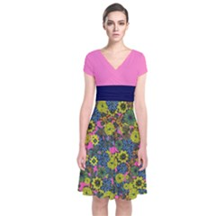 Yellow & Pink Floral Short Sleeve Front Wrap Dress by CoolDesigns