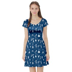 Navy Cat Short Sleeve Skater Dress by CoolDesigns