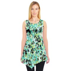 Lightgreen Floral Sleeveless Tunic Top by CoolDesigns