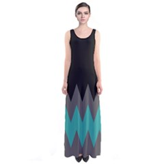 Mint Chevron Sleeveless Maxi Dress by CoolDesigns