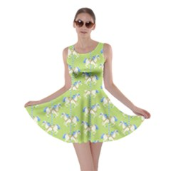 Neon Green Carousel Horses Pattern Skater Dress  by CoolDesigns