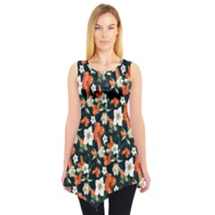 Tealorange Floral Sleeveless Tunic Top