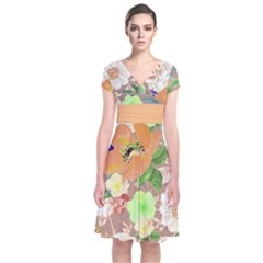 Mocha Floral Short Sleeve Front Wrap Dress by CoolDesigns