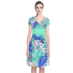 Mint Roses Short Sleeve Front Wrap Dress by CoolDesigns