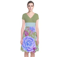Olive Floral Short Sleeve Front Wrap Dress by CoolDesigns