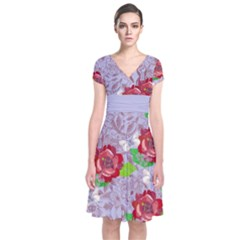 Violet Floral Short Sleeve Front Wrap Dress by CoolDesigns