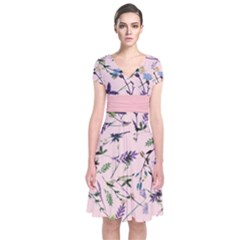 Pinky Floral  Short Sleeve Front Wrap Dress by CoolDesigns