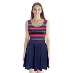 Navy Stripes Split Back Mini Dress  by CoolDesigns
