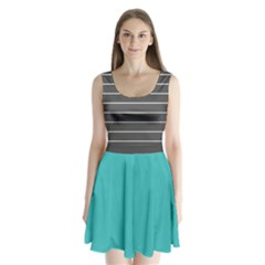 Gray Stripes Split Back Mini Dress  by CoolDesigns