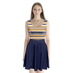Yellow Navy Stripes Split Back Mini Dress