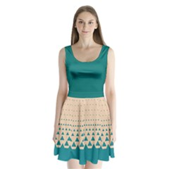 Turquoise Triangle Split Back Mini Dress  by CoolDesigns