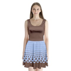 Brown Triangle Split Back Mini Dress  by CoolDesigns