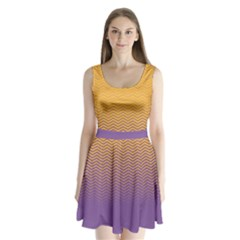 Yellow Chevron Split Back Mini Dress  by CoolDesigns