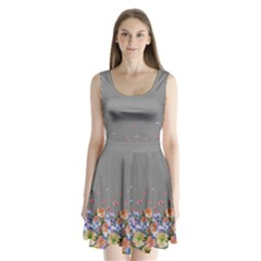 Gray Floral Split Back Mini Dress  by CoolDesigns